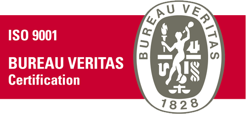 UNE-ISO 9001:2008 certification stamp issued by Bureau Veritas.